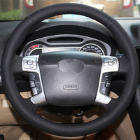 Free Shipping High Quality cowhide Top Layer Leather handmade Sewing Steering wheel covers protect For Ford Mondeo MK4/S MAX