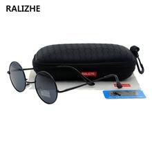 RALIZHE Brand Womens Vintage Polarized Polaroid Sunglasses Designer Round Metal Mens Retro Sun Glasses Black Steampunk Eyewear