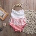 Da Criança Do Bebê recém-nascido Meninas Borlas Mangas Correia Romper algodão halter backless Jumpsuit Roupas Outfit