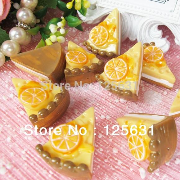Kawaii Resin Flatbacks DIY Artificial Lemon Cake Food Cabochon Scrapbooking Embellishment Decoration Crafts Making: 23*30mm