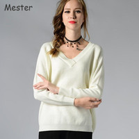 2017 New Middle Aged Mother Spring Sweaters Women Casual V Neck Oversized Sweater Pullovers White Grey