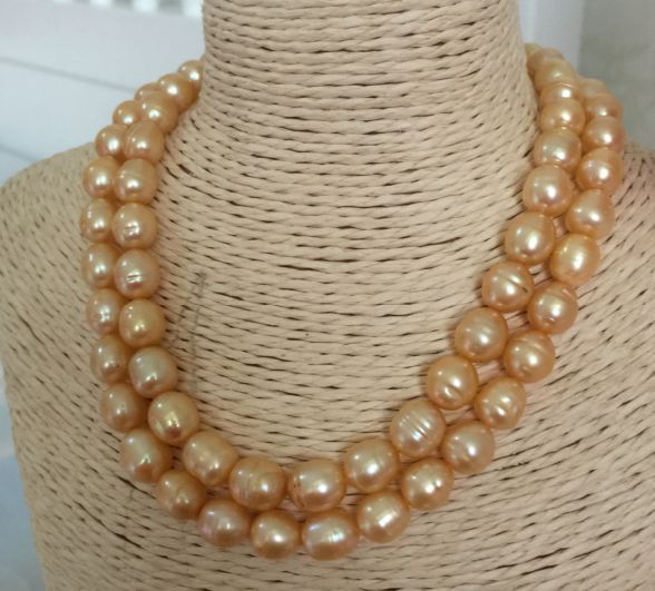 two rows 10-11mm south sea baroque gold pearl necklace 18inch elegant14 15mm baroque south sea white pearl necklace 18inch
