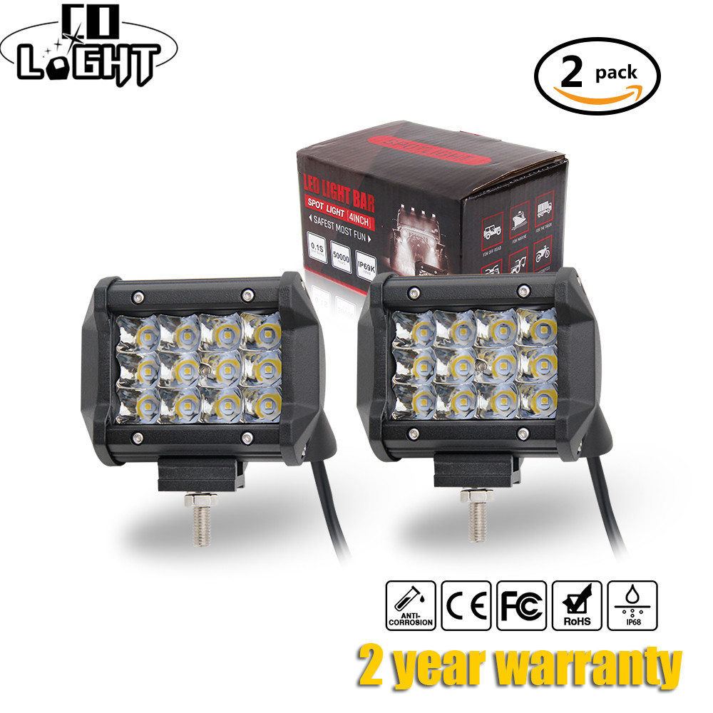 CO LIGHT <font><b>Led</b></font> Work Light 4 inch Combo 72W <font><b>Led</b></font> Light Bar Offroad 4&#215;4 Spot Flood Driving Light for SUV Truck Boat Jeep ATV 12V 24V