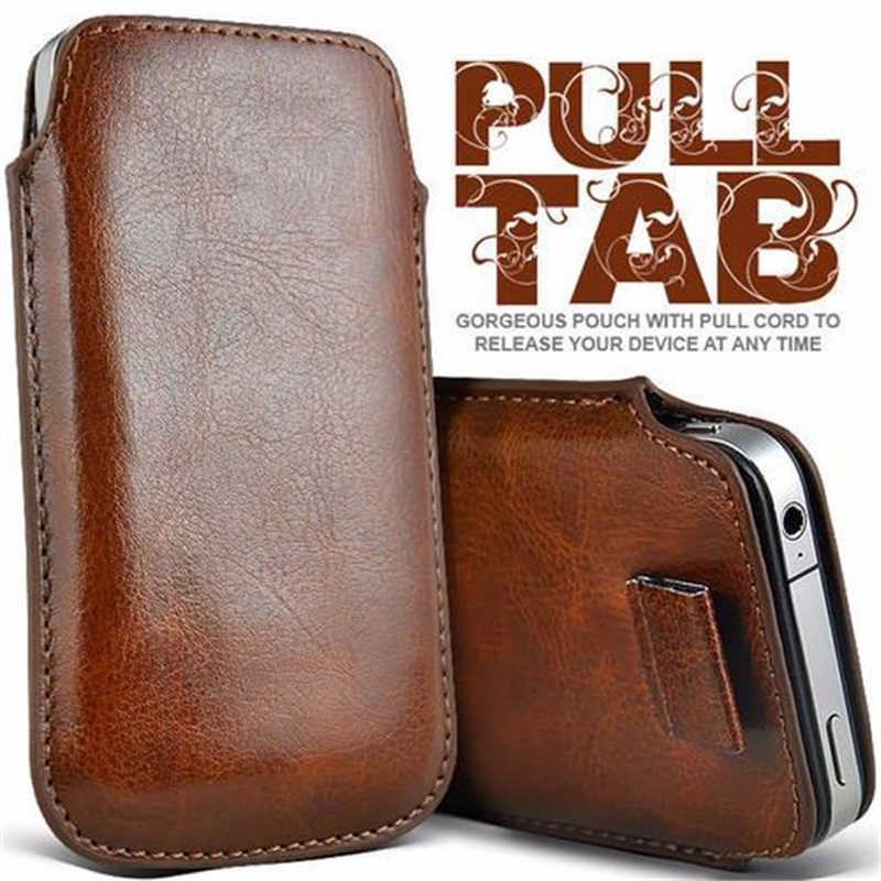 Untuk Samsung A01 Case Universal Lengan Kulit Pull Tab Kantung Casing untuk Samsung Galaxy A01 M01 M 01 Pelindung Ponsel tas Kasus