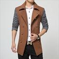 1 unids Men Pure cotton slim fit double-breasted larga chaqueta de la chaqueta 2017 de Primavera juego de la chaqueta de empalme Flacos jacket coats joven hombre