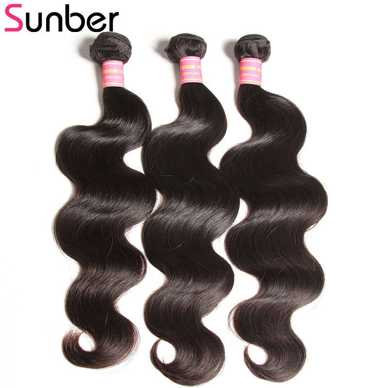 Sunber Hair 3 Bundles Brazilian Body Wave Hair Natural Color 100% Remy Hair Weave Bundles  8-30 Inch Double Weft Can Be Dyed