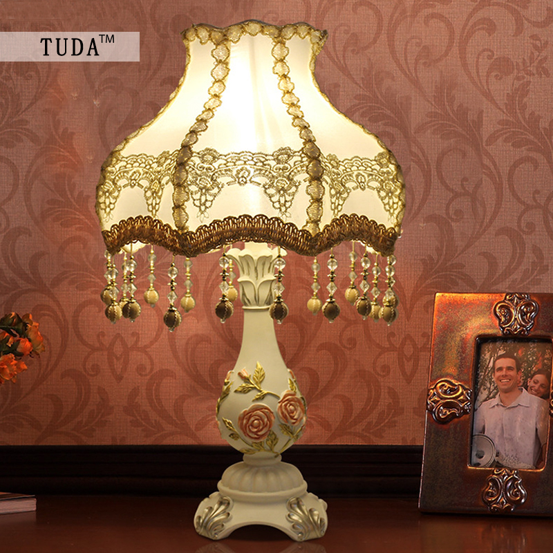 TUDA 35X52cm Free Shipping Indoor Lighting Table Lamps European Wedding Decorative Lamp Bedside Lamp rose Shape Resin Table Lamp free shipping european high grade furniture jewelry natural resin candlestick rose upholstery candlestick wedding accessories