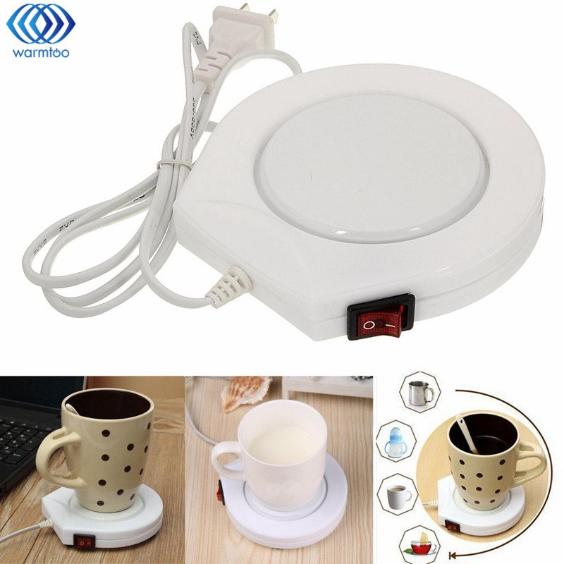 220V Electric Powered Cup Warmer Heater Pad Hot Plate Coffee Tea Milk Mug US Plug White Household Office dia 400mm 900w 120v 3m ntc 100k round tank silicone heater huge 3d printer build plate heated bed electric heating plate element