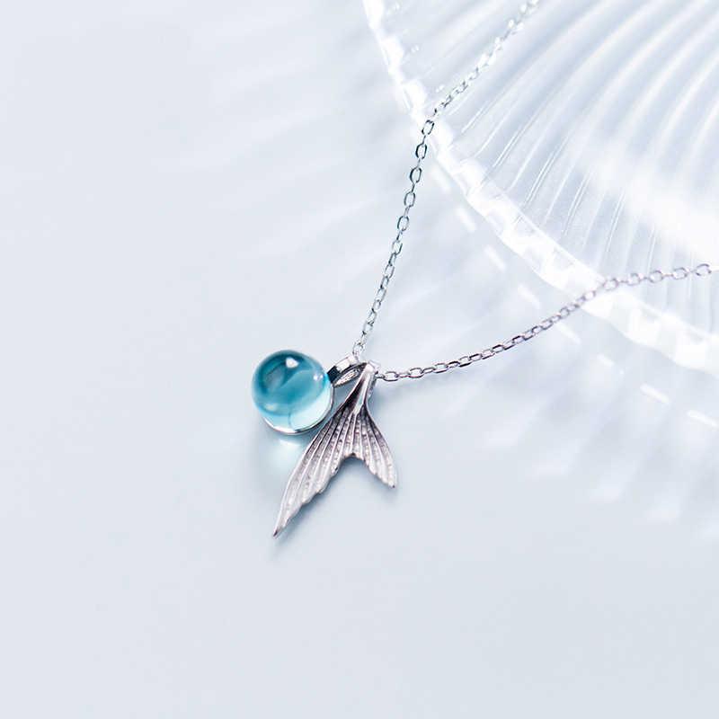 Фото AMOURJOUX Романтический Корея 925 пробы Серебряный рыбий хвост с синий кристалл колье