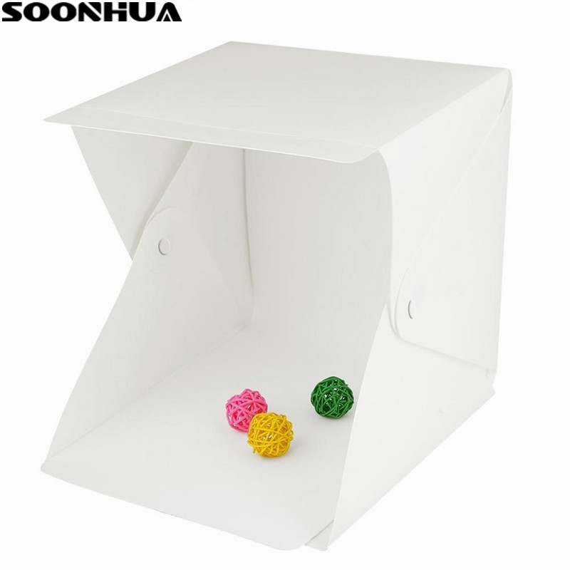 SOONHUA Portable Folding Lightbox Photography Studio Softbox Mini LED Light Box Tent Kit for Phone DSLR Camera Photo Background