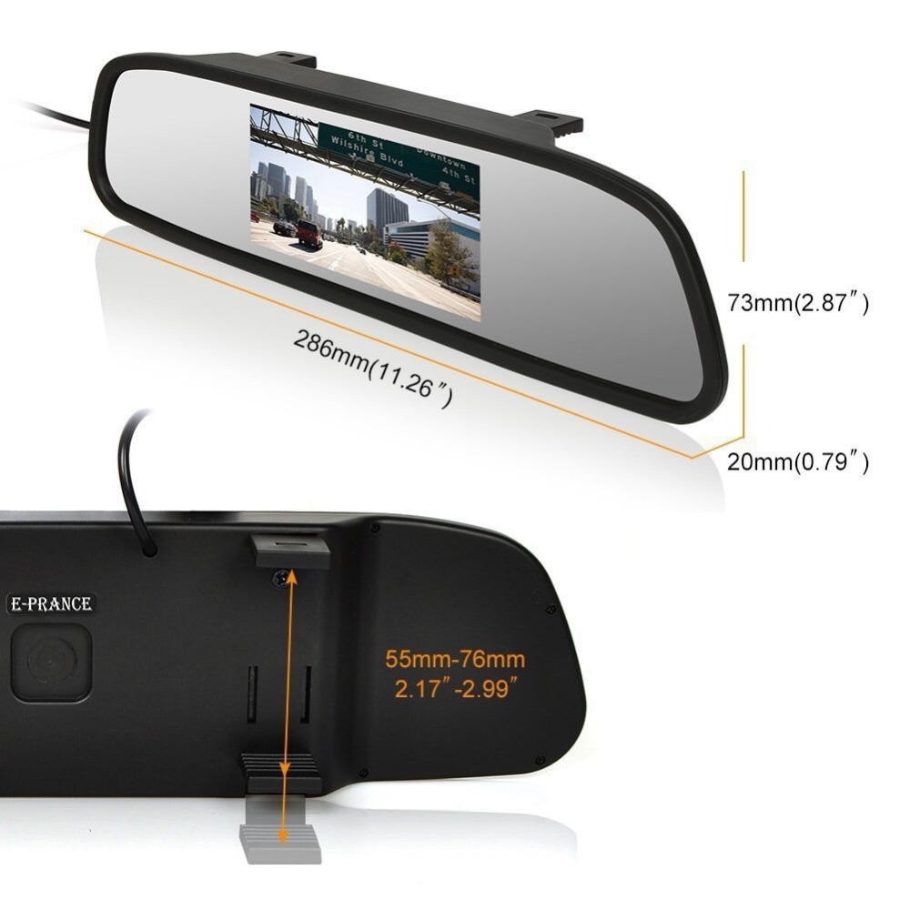 Image 3 - Viecar Car Rearview Mirror Monitor With Night Vision Reversing Rear View Camera 4.3 inch Screen display Mirror Monitor-in Car Mirror Video from Automobiles & Motorcycles