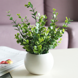 white small round ceramic flower pot green artificial plant