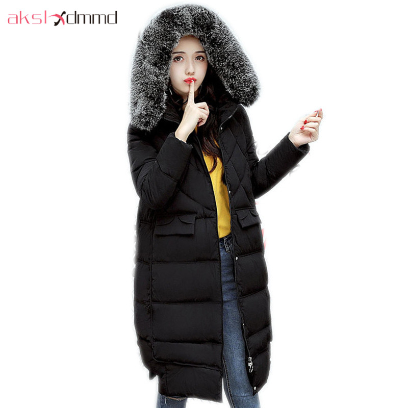 AKSLXDMMD Parkas Mujer Overcoat Slim Fur Collar Hooded Jackets 2017 New Winter Women Jacket Thick Long Coat Female LH1124 akslxdmmd women winter jacket 2017 new female jacekt fashion hooded printed letters thick padded woman coat parkas mujer lh1066