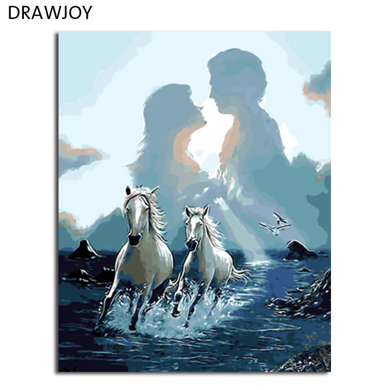 DRAWJOY Framed Pictures Painting & Calligraphy DIY Painting By Numbers Of Horses Animals Oil Painting Home Decor