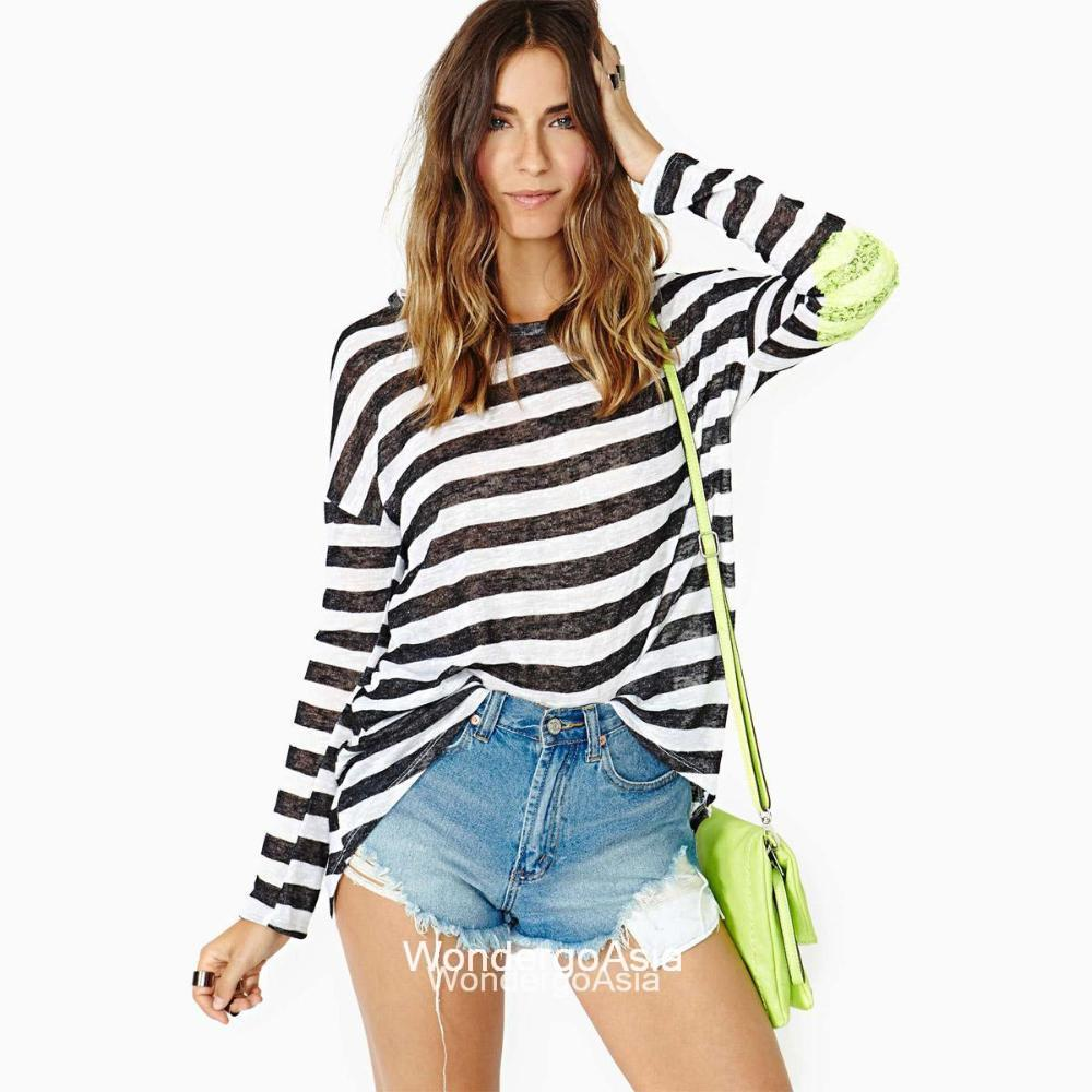 Black And White Stripe T Shirt With Green Sequins Elbow