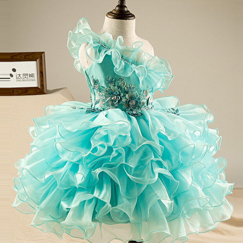 Cloud Flower Girl Dress One Shoulder Princess Dresses Sleeveless Ball Gown Kids Girl Summer Dresses Evening Party Gown A113 summer princess dress 2017 hot sale sleeveless children girls dresses clothing fashion ball gown kids girl star sky dresses page 3