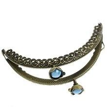 10Pcs Blue Resin Flower Head Purse Bag Metal Arc Frame Kiss Clasps Bronze Tone Handbag Handle Clutch 13x7cm
