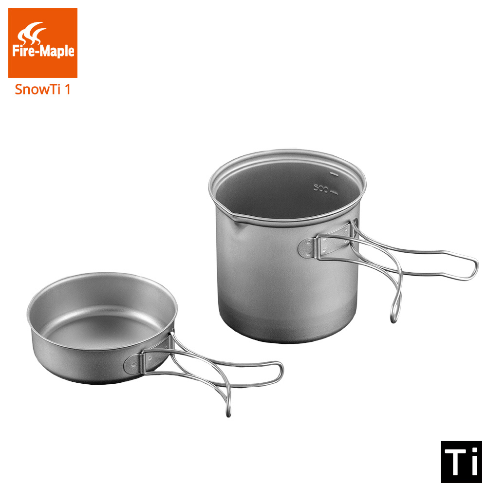 купить Fire Maple SnowTi 1 Portable Snow Titanium 0.65L Outdoor Camping Pot and 0.28L Frying Pan Ultra-Light Camping Pots Set недорого