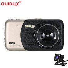 QUIDUX Schermo Da 4.0 Pollici Dash Cam Registratore FHD 1080 P di Visione Notturna Doppia Lente Da Viaggio In Metallo Retromarcia Immagine Vista Posteriore videocamera per auto DVR