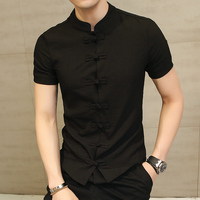 Chinese Style Linen Slim Fit Casual Short Sleeve Dress Shirt 4