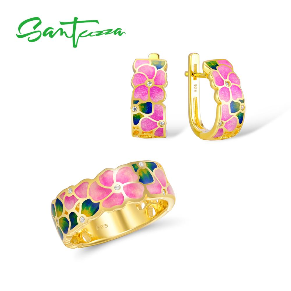 Santuzza Jewelry Set HANDMADE Colorful Enamel White CZ Stone Flower Ring Earrings 925 Sterling Silver Women Fashion Jewelry Set