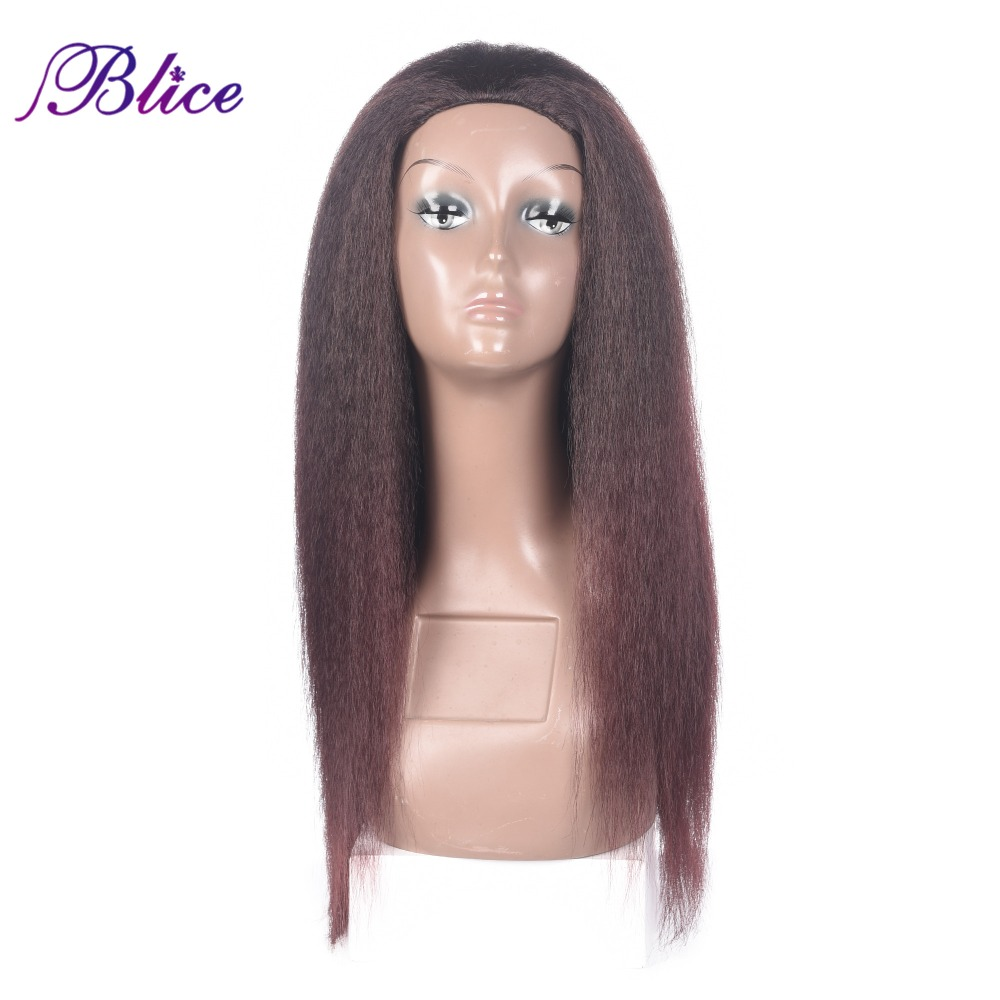 Blice Long Kinky Straight Synthtetic Half Wig Mix Color T2/99j 20inch Headband Wigs Can Be Elastic For Women