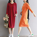 Autumn Winter Casaul Women's Clothing Solid Color Plus Velvet Thickening Thermal Basic Long Dress Female YL355