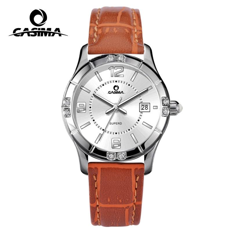 Luxury brand watches women fashion casual beauty fancy quartz wrist watch calendar waterproof 50m Leather strap CASIMA#3007