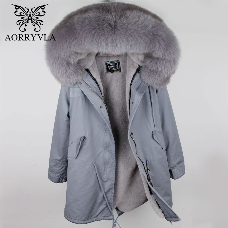 AORRYVLA Women   Parka   Winter 2018 Natural Fox Fur Collar Hooded With Detachable Faux Fur lining Long Length Casual Fur   Parka