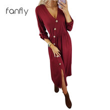 75b24565bfc Maxi Dress Women Casual V Neck Party Dresses Autumn Solid Long Sleeve  Sundress Elegant Office Wear Robe Femme Slim Fit SJ608F