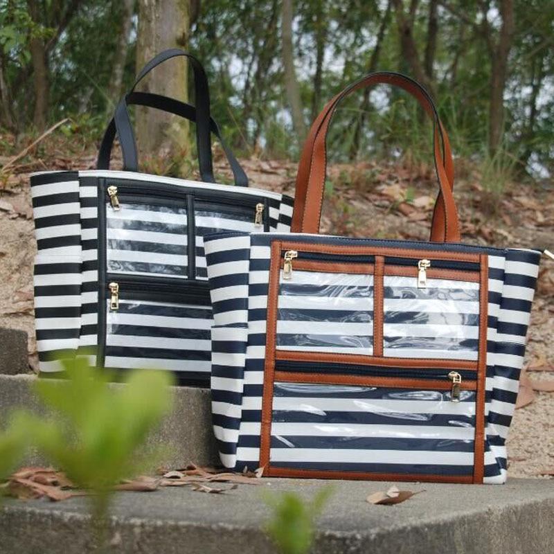 576-PU stripe lipstick show bag (5)
