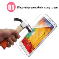 10 50 100 Pcs HD Top Quality Tempered Glass Note3 Screen Protector Cover For Samsung Galaxy