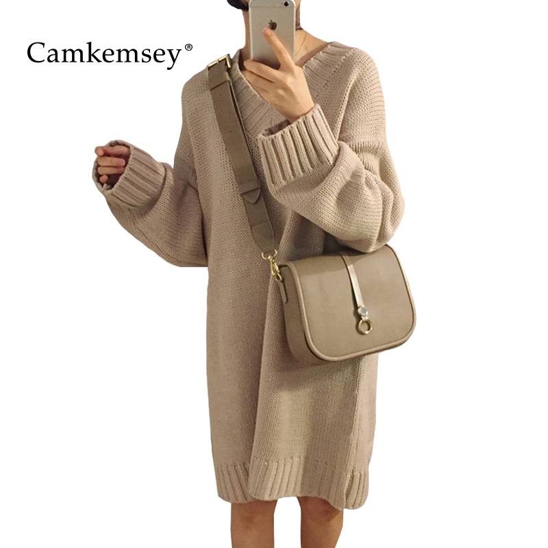 CamKemsey Women Sweater Dresses For Winter Casual Long Sleeve V Neck Long Knitted Dress Women Loose Knit Tunic Vestidos alfani women s long sleeve marilyn cowl neck tunic sweater emerald 2x