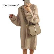 Фотография CamKemsey Women Sweater Dresses For Winter Casual Long Sleeve V Neck Long Knitted Dress Women Loose Knit Tunic Vestidos