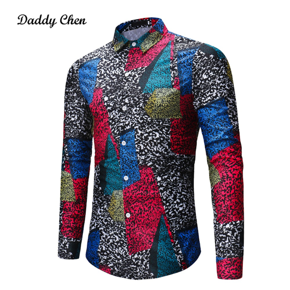 Casual shirt men Vintage multicolor patchwork printed mens dress shirts long sleeves sli ...