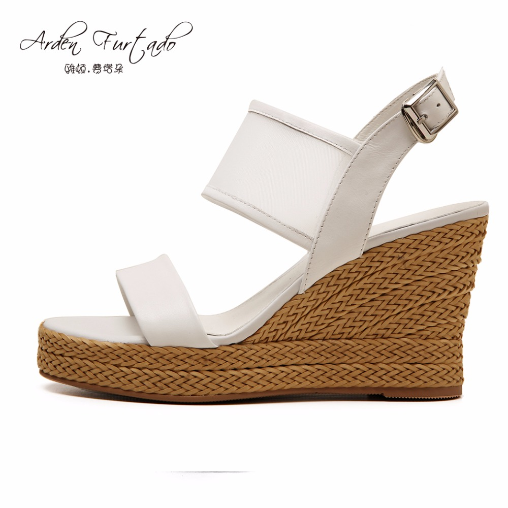 2017 summer shoes for women platform mesh clear casual sandals straw buckle white wedges high heels genuine leather woman fashion high heels sandals women genuine leather buckle summer shoes brand new wedges casual platform sandal gold silver