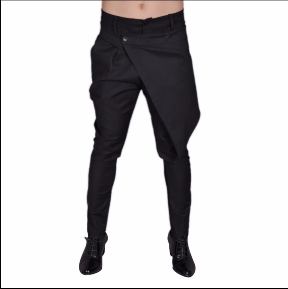 2e6f5aa2ece2 27-44 NEW ! Men s casual overalls pants personality disassembly culottes  slim taper pants hairstylist trousers costumes skirt