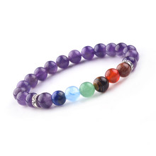 Multicolor 7 Chakra Stone Beads buddha Bracelets Wristband Bangles bijoux armbanden voor vrouwen Women Men Jewelry