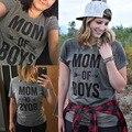Novas Mulheres de Verão T-shirt MÃE DE MENINOS Carta Impressão Ocasional Senhoras o-pescoço Mangas Curtas Cinza Pullover Tees Tops Poleras de Mujer