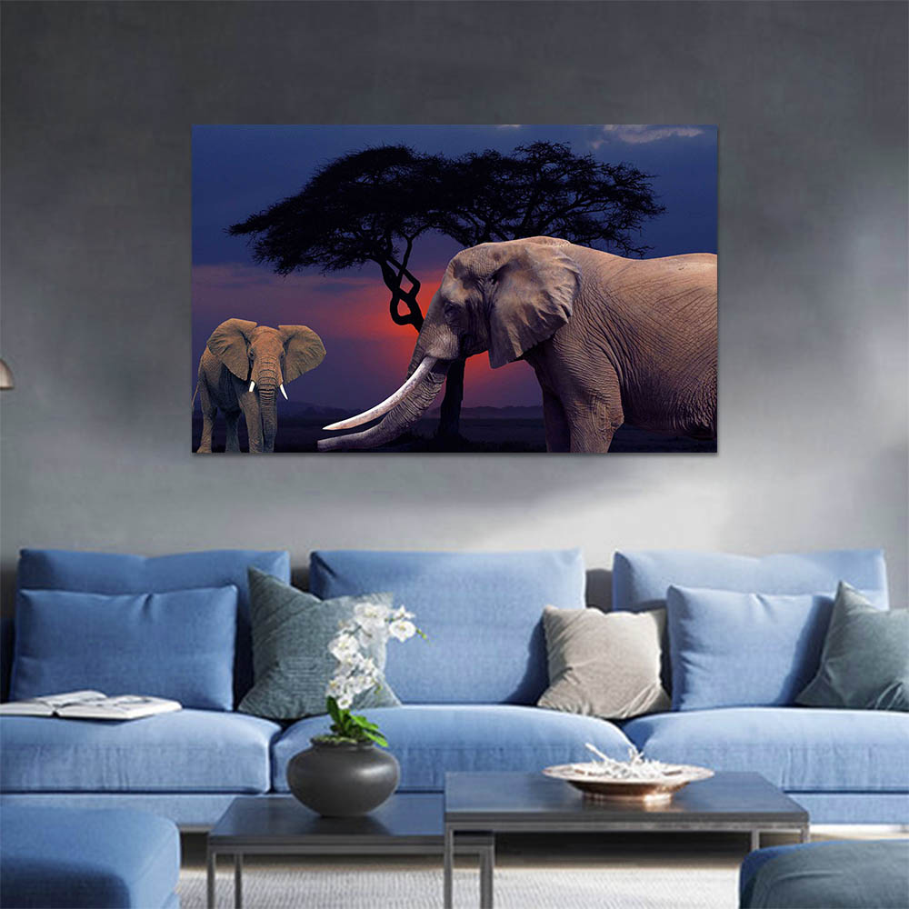 Unframed Canvas Prints Art Painting Sunset Tree Elephant Prints Wall Pictures For Living Room Wall Art Decoration Drop Shipping