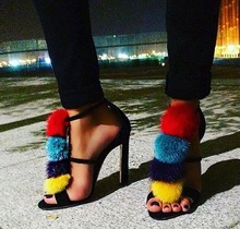 Mixed Colors Pom Pom Decor Women Sandals Cut-out Ankle Strap Peep Toe Ladies Wedding Shoes Bride Black Suede Gladiator Sandals ankle strap slide sandals with pom pom