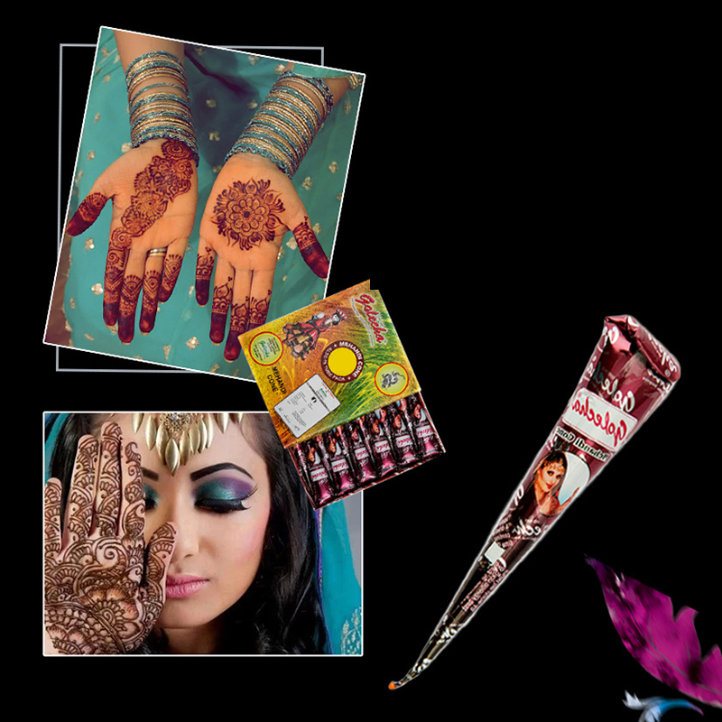 1Pcs Brown Colored Body Paint Golecha Indian Mehndi Tattoo Cream DIY Temporary Drawing Paste Cone Women Beauty Tattoo Stencil