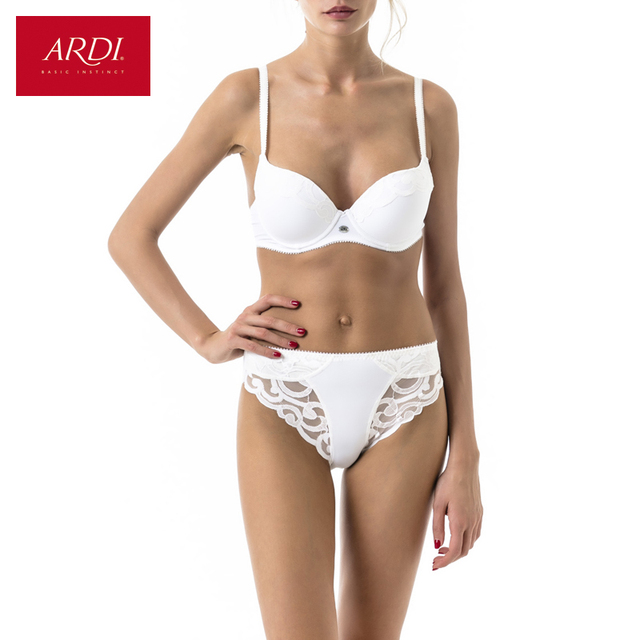 62def3d33c ARDI New Lace Woman s Push Up Underwire Bra and Brief Set of Underwear BH  White 70