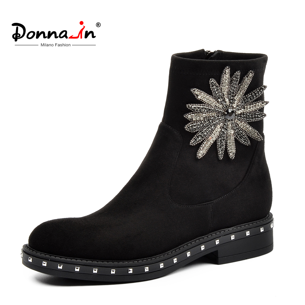 Donna-in Brand Ankle Boots Women Genuine Leather Botas Low Heels Black Round Toe Drill Flower Zip Autumn Shoes for Women 2018 недорго, оригинальная цена