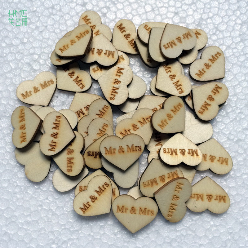 50pcs Heart Wooden Wedding Take Pictures Props Wedding Supplies Clothing Accessories Mr & Mrs Wedding Decoration Clip True Color