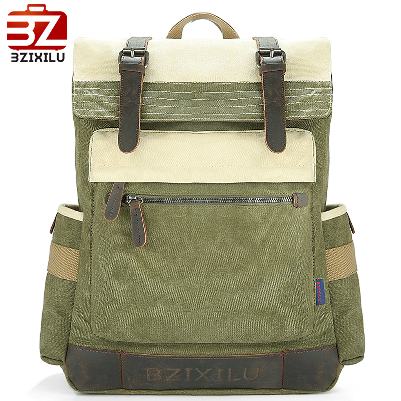 School Laptop Backpack Bags Canvas Back Pack Travel Retro Vintage Leather Business Bagpack For Women