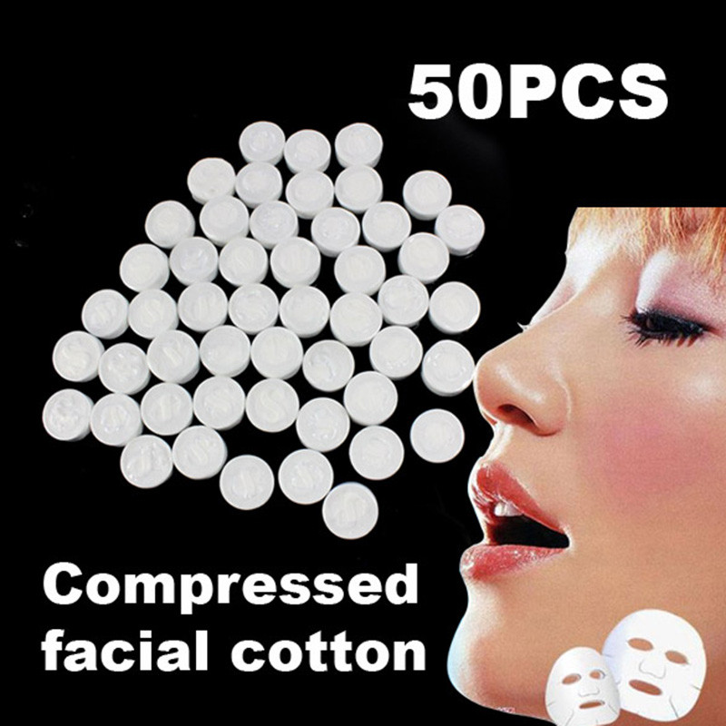 50Pcs Facial Face Cotton Mask Natural Compressed F1 Dried Form And Convenient To Carry Best Gift For Women