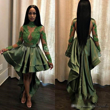 2019 High-Low A-line Prom Dresses High Neck Long Sleeve Beaded  Green Satin Party Gowns see through evening dress цена 2017