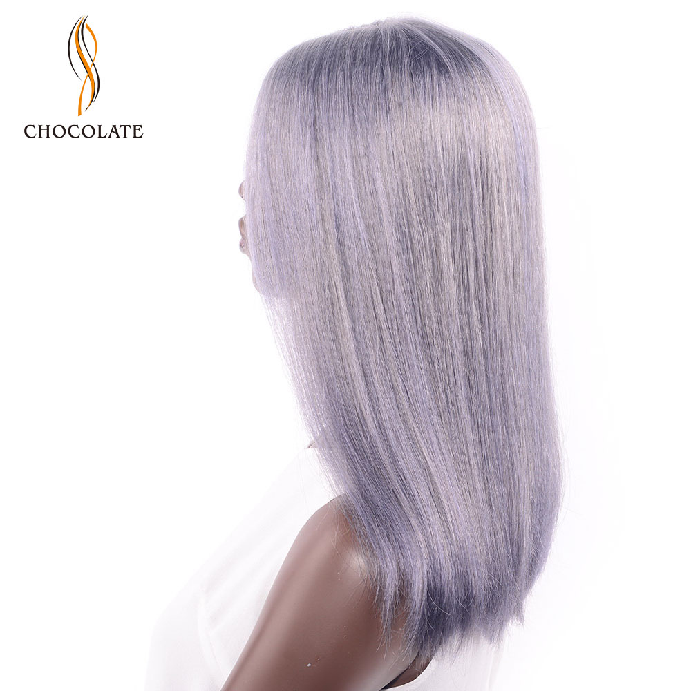 CHOCOLATE Brazilian Straight Remy Human Hair Wigs Middle Part Grey Color Head Seam Lace Wig for Women 180% Density 16 Inch