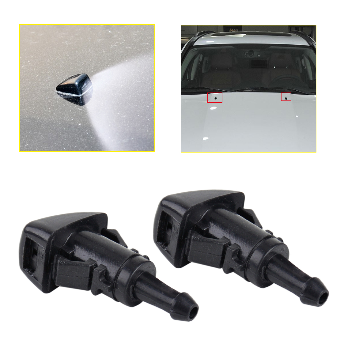 DWCX 2Pcs 1 Hole Car Windshield Washer Wiper Water Spray Nozzle 47186 Fit For Chrysler 300 Dodge Avenger Jeep Compass Ram 1500